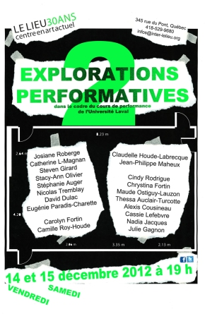 Soirées de performance au Lieu, centre en art actuel : EXPLORATIONS PERFORMATIVES 2