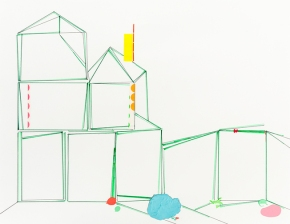 normal_JRiddle_2015_House_Silences_green_stickers_cerulean_pink_